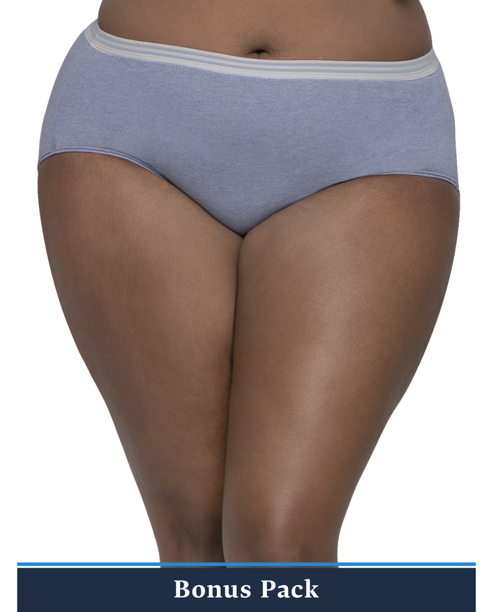 Women's Plus Assorted Heather Brief Panty, Panty, 8 Pack