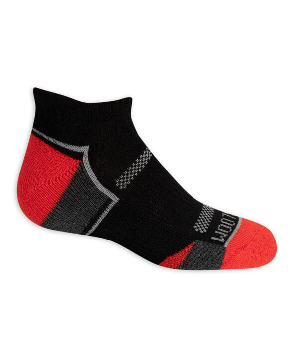 Boys' Active Cushioned Low Cut Socks, 6 Pack BLACK/DAZZLING BLUE, BLACK/GREY,BLACK/HIGH RISK RED, BLACK/LIME,BLACK/GREY,BLACK/AUTUMN GLORY