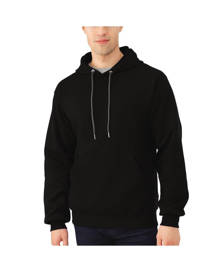 Big Men's EverSoft Fleece Pullover Hoodie Sweatshirt, 1 Pack Black