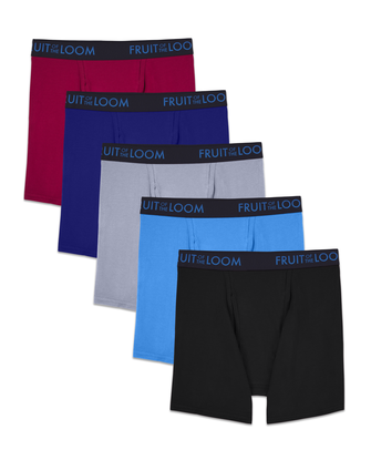 Men's Breathable Cotton Micro-Mesh Assorted Boxer Briefs, 5 Pack