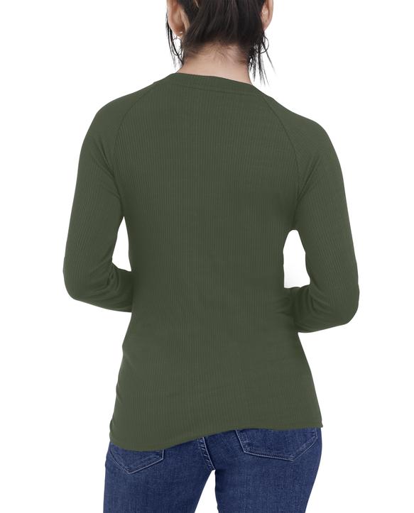 Women's Seek No Further Long Sleeve Ribbed T-Shirt Military Green