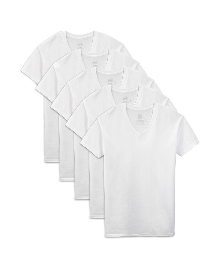 Men's Short Sleeve White V-Neck T-Shirts, Extended Sizes, 5 Pack