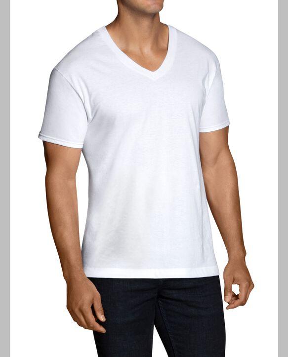 Men's Short Sleeve White V-Neck T-Shirts, 12 Pack White