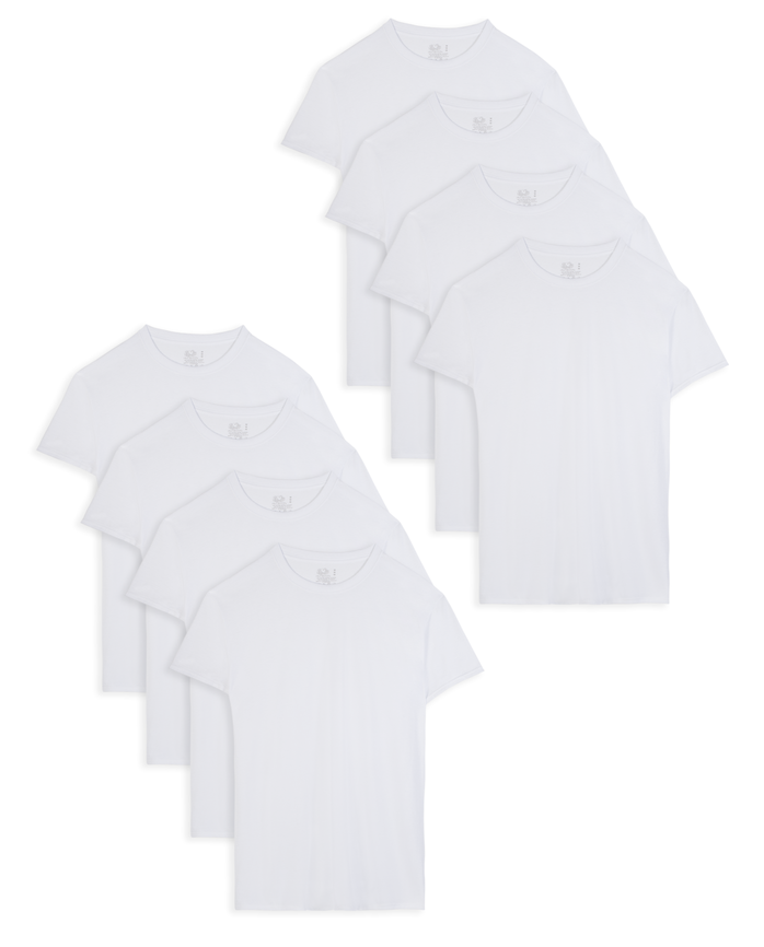 Men's Dual Defense® Active Cotton Blend White Crew Neck T-Shirts, 8 Pack