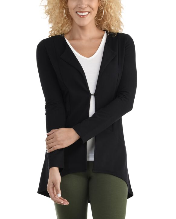 Women's Seek No Further Open Front Long Sleeve Ponte Stretch Jacket Brilliant Black
