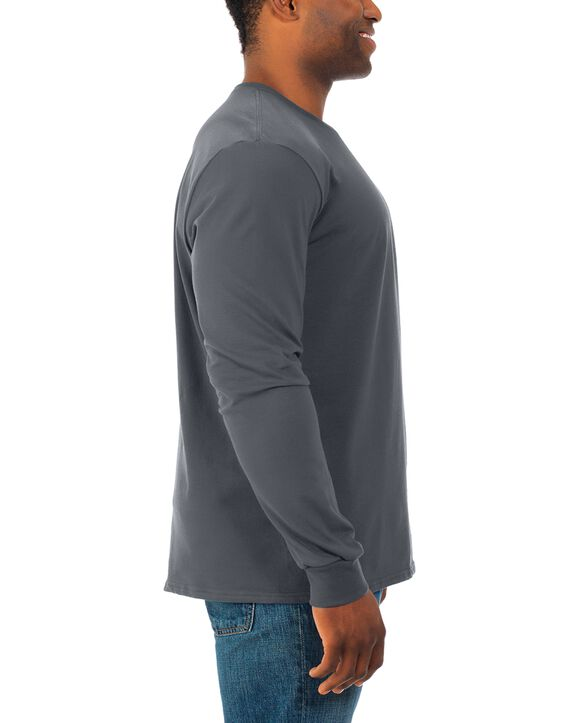 Men's Soft Long Sleeve Crew Neck T-Shirt, 2 Pack Charcoal