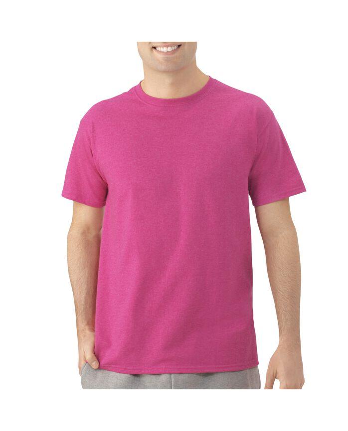 Men's Dual Defense UPF Short Sleeve Crew T-Shirt, 1 Pack Fuchsia Rose Heather