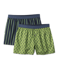 Men's 2 Pack Low Rise Print Cotton Boxer Assorted