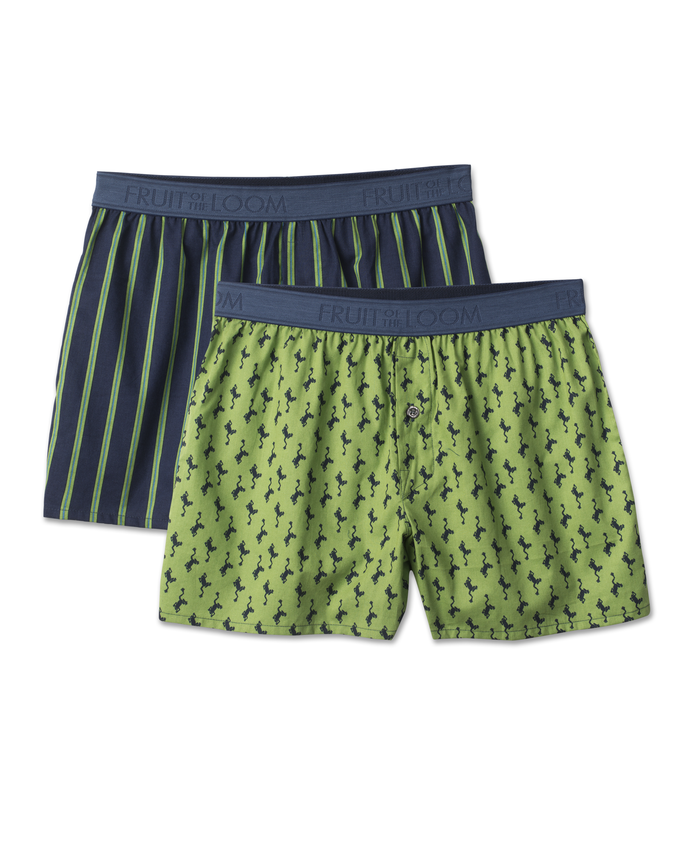 Men's 2 Pack Low Rise Print Cotton Boxer