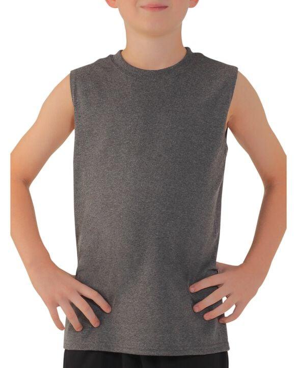 Boys' Sleeveless T-Shirt, 2 Pack Slate Gray Heather