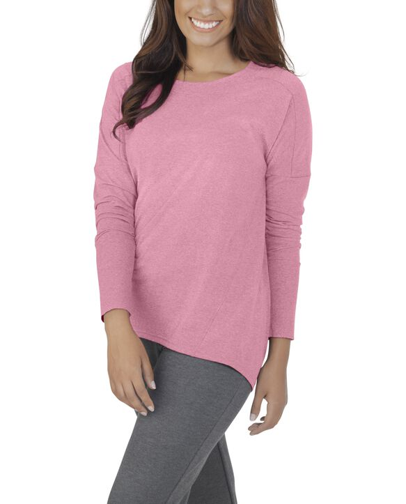 Women's Essentials Long Sleeve Scoop Neck T-Shirt, 1 Pack Rose Heather