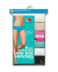 Women's 6 Pack Microfiber Low Rise Hipster Assorted