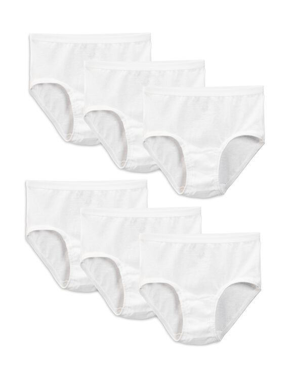 Girls' White Cotton Brief Panty, 6 Pack White
