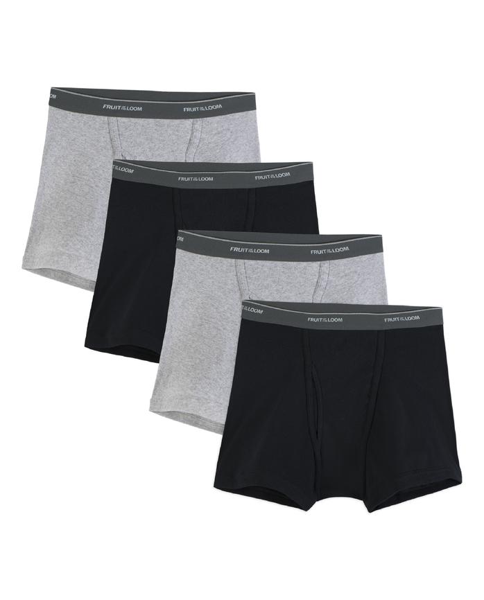 Men's 4 Pack Black/Gray Short Leg Boxer Brief Extended Sizes