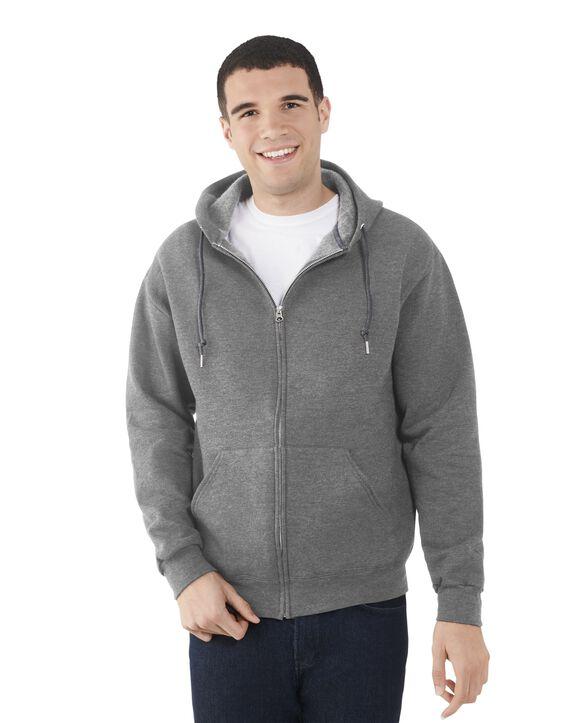 Big Men's EverSoft Fleece Full Zip Hoodie Jacket, 1 Pack Charcoal Heather