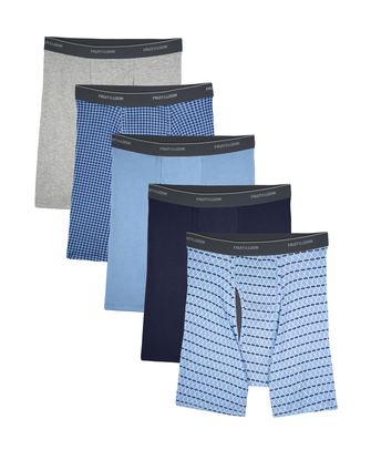 Men's CoolZone Fly Argyle and Solid Boxer Briefs, 5 Pack