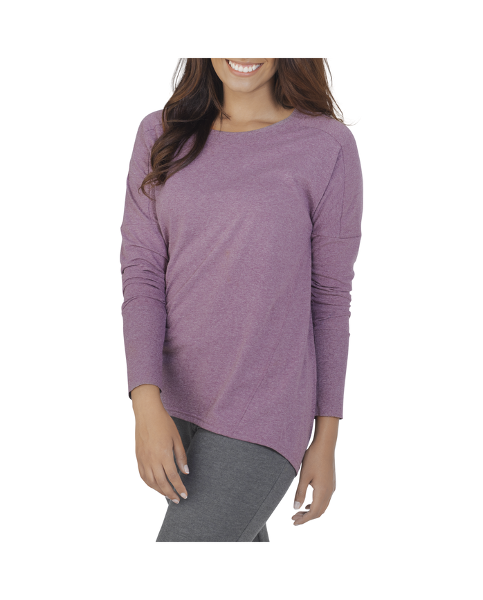Women's Essentials Long Sleeve Scoop Neck T-Shirt, 1 Pack Beet Heather