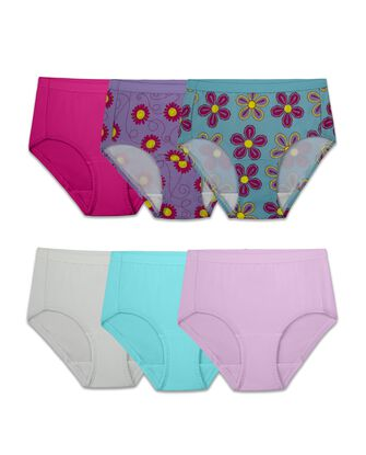 Girls' Assorted Microfiber Brief Underwear, 6 Pack