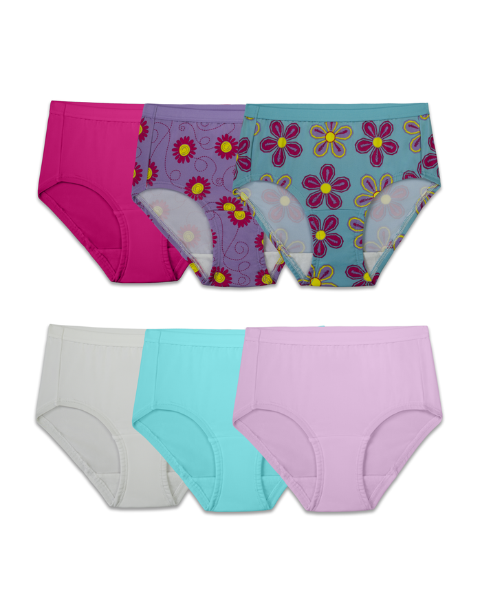 Girls' Assorted Microfiber Brief Underwear, 6 Pack