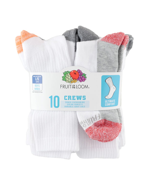 Boys' Cushioned Ankle Socks Pair, 10 Pack, Size 6-12 WHITE/BLUE, WHITE/BLACK, WHITE/GREY, WHITE/RED, WH