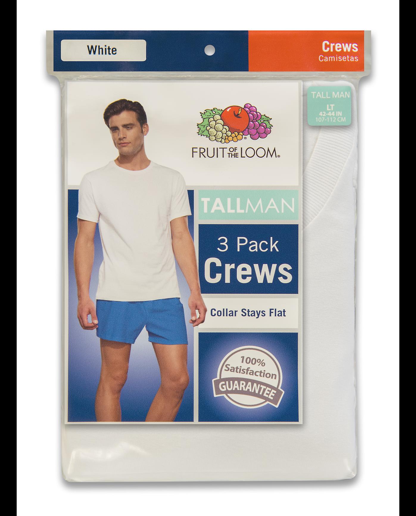 2a607c9eb02 Men s 3 Pack Tall Man White Crew T-Shirt - Fruit US