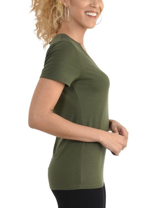 Women's  Seek No Further Short Sleeve V-Neck T-shirt Military Green