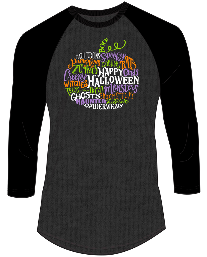 Halloween Pumpkin Word Cloud ¾ Sleeve Shirt