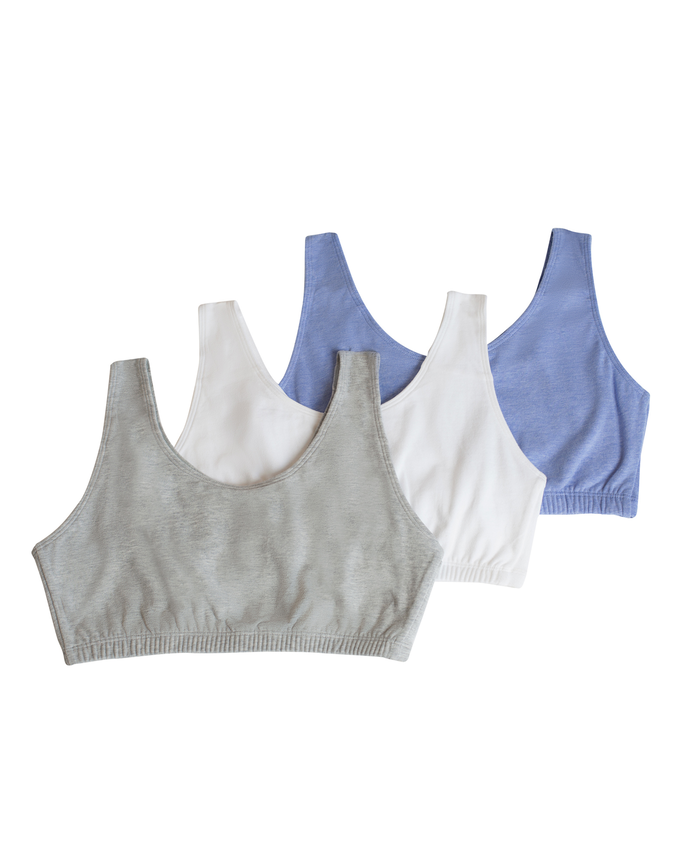 Women's Tank Style Sports Bra, 3 Pack HEATHER BLUE/WHITE/HEATHER GREY