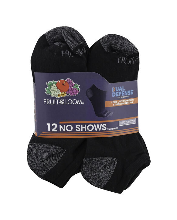 Men's Dual Defense No Show Socks, 12 Pack, Size 6-12 BLACK/GREY