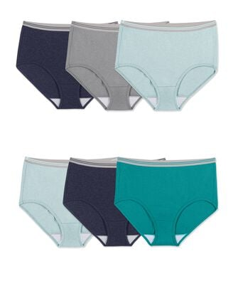 Women's Plus Size Fit for Me® by Fruit of the Loom® Heather Assorted Brief Panty, 6 Pack