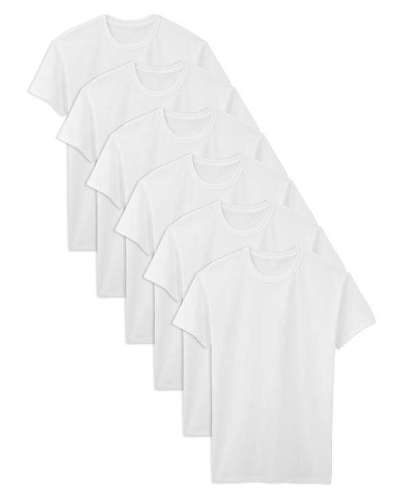 Tall Men's Classic White Crew T-Shirts, 6 Pack White