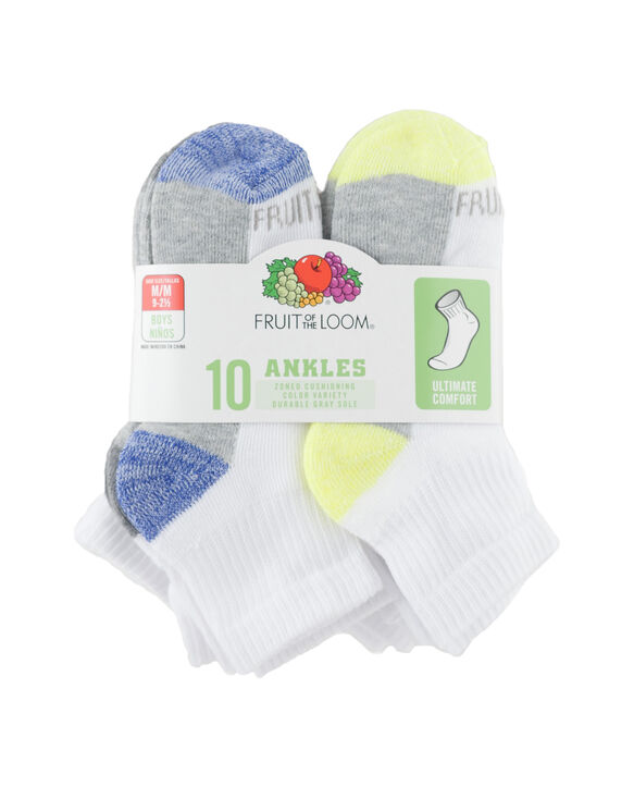 Boys' Cushioned Ankle Socks Pair, 10 Pack, Size 9-2.5 WHITE/BLUE, WHITE/BLACK, WHITE/GREY, WHITE/RED, WH