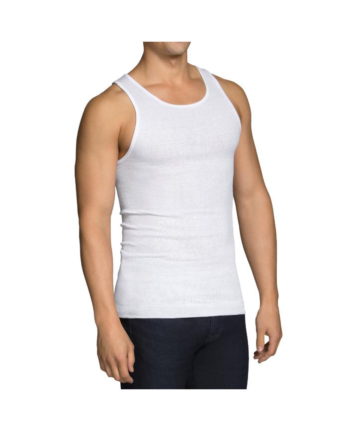 Men's Dual Defense® White A-Shirts, 6 Pack White