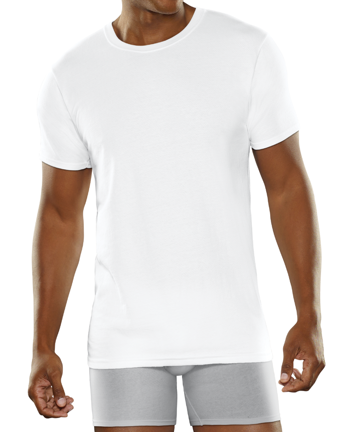 Men's Breathable Cooling Cotton White Crew Neck T-Shirts, 3 Pack White