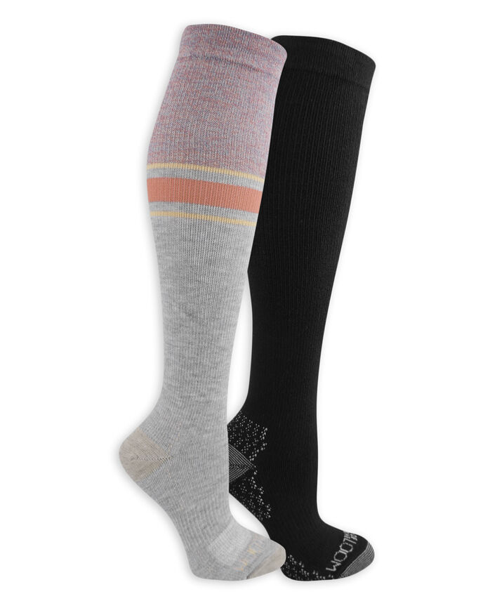Women's On Her Feet Lightweight Compression Knee High Socks, 2 Pack, Size 4-10 GREY, BLACK