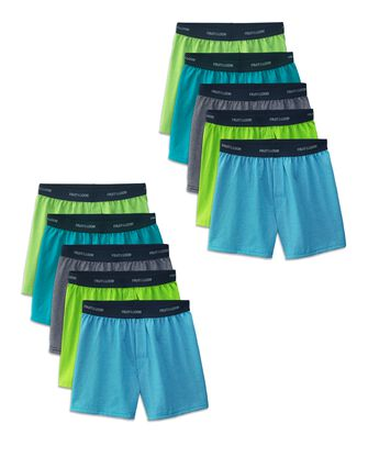 Boys' Stripe/Solid Knit Cotton Boxers, 10 Pack