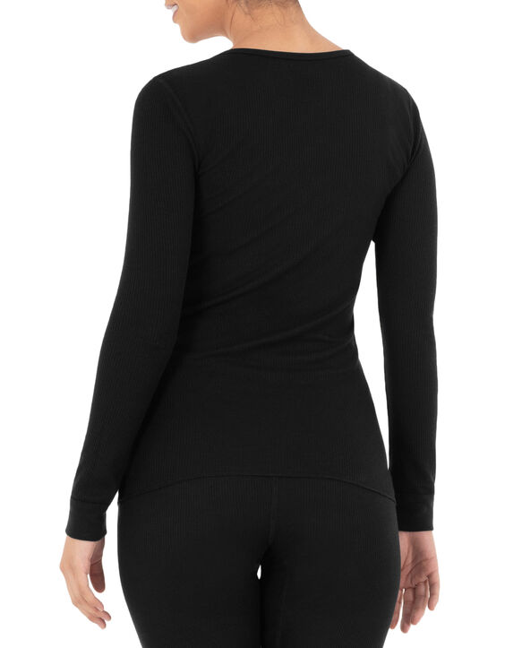 Women's Thermal Crew Top, 2 Pack Black