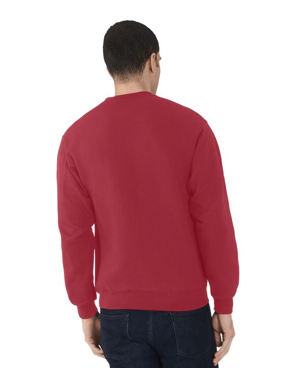 Men's EverSoft Fleece Crew Sweatshirt, Extended Sizes, 1 Pack Brilliant Red