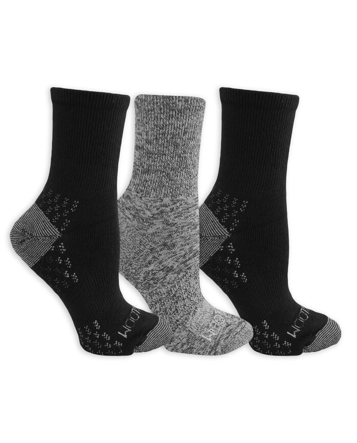 Women's On Her Feet Lightweight Boot Crew Socks, 3 Pack BLACK, WHITE/GREY