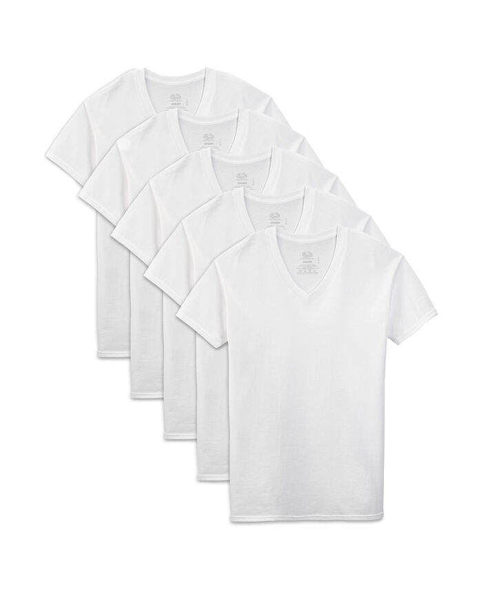 Men's Dual Defense® White V-Neck T-Shirts, 5 Pack, Extended Sizes