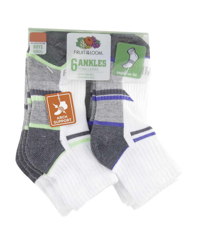 Boys' Everyday Active Ankle Socks Pair, 6 Pack, Size 3-9 WHITE/RED, WHITE/GREY, WHITE/ORANGE, WHITE/BLUE, W