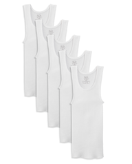 Boys' White Tank Top A-Shirts, 5 Pack White