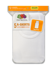 Boys' 5 Pack White A-Shirt White