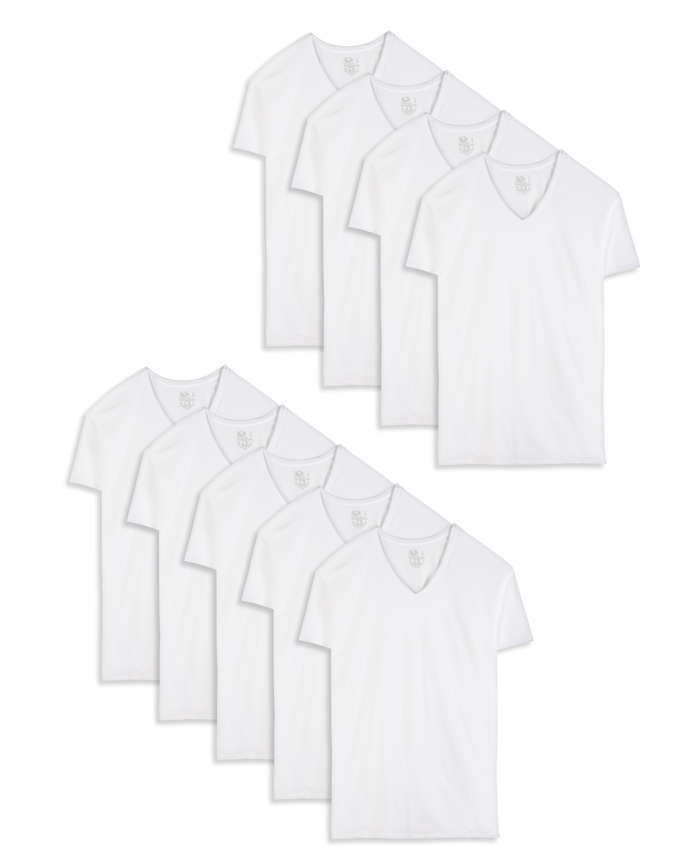 Men's Short Sleeve White V-Neck T-Shirts, 9 Pack