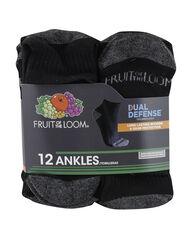Men's Dual Defense Ankle Socks , 12 Pack, Size 6-12 BLACK/GREY