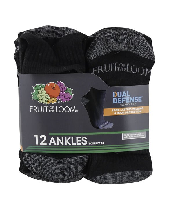 Men's Dual Defense Ankle Socks , 12 Pack, Size 6-12 BLACK/GREY
