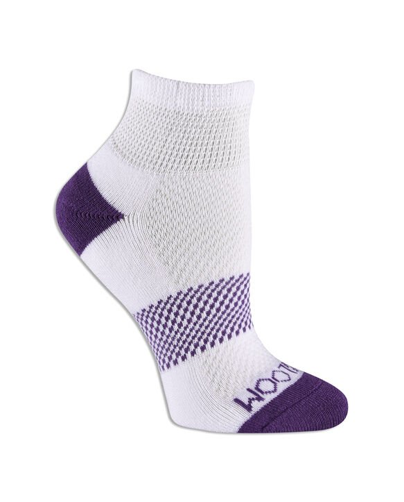 Women's Fit For Me® Breathable Cotton Ankle Pair, 3 Pack, Size 4-10 WHITE/PURPLE, WHITE/PINK, WHITE/BLUE