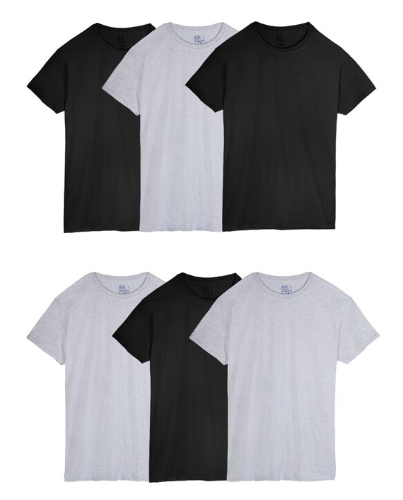 Men's Short Sleeve Black/Gray  Crew T-Shirts, 6 Pack, Extended Sizes ASSORTED