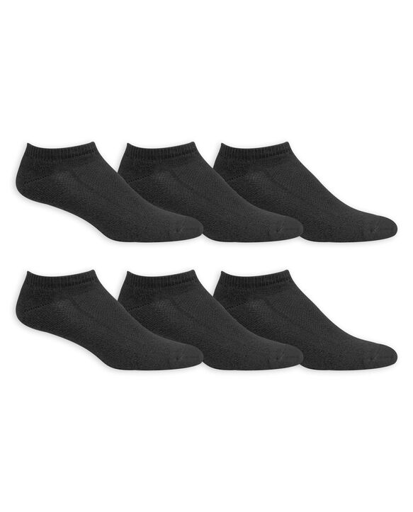 Men's Big and Tall Breathable Cotton No Show Socks, 6 Pack, Size 12-16 BLACK