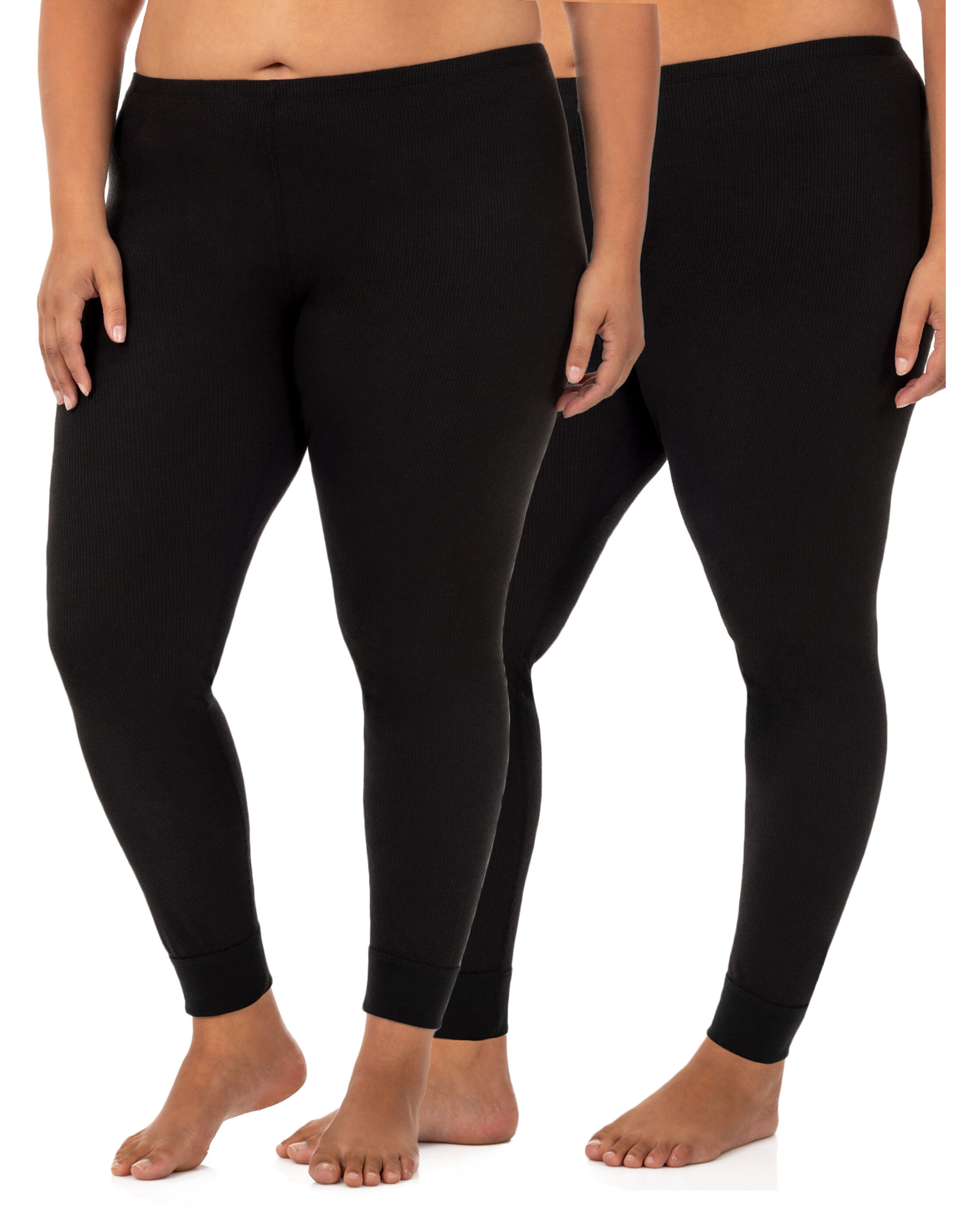 Fruit Of The Loom Big Men/'s Thermal Bottoms 2 Pack Size 2XL Natural /& Black NEW